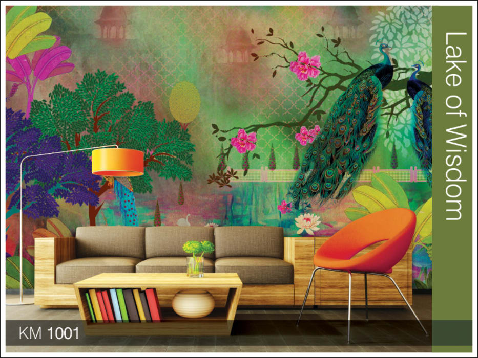 Krsna mehta designer wallcoverings Classic style walls & floors by Wall Art Private Limited Classic Silver/Gold