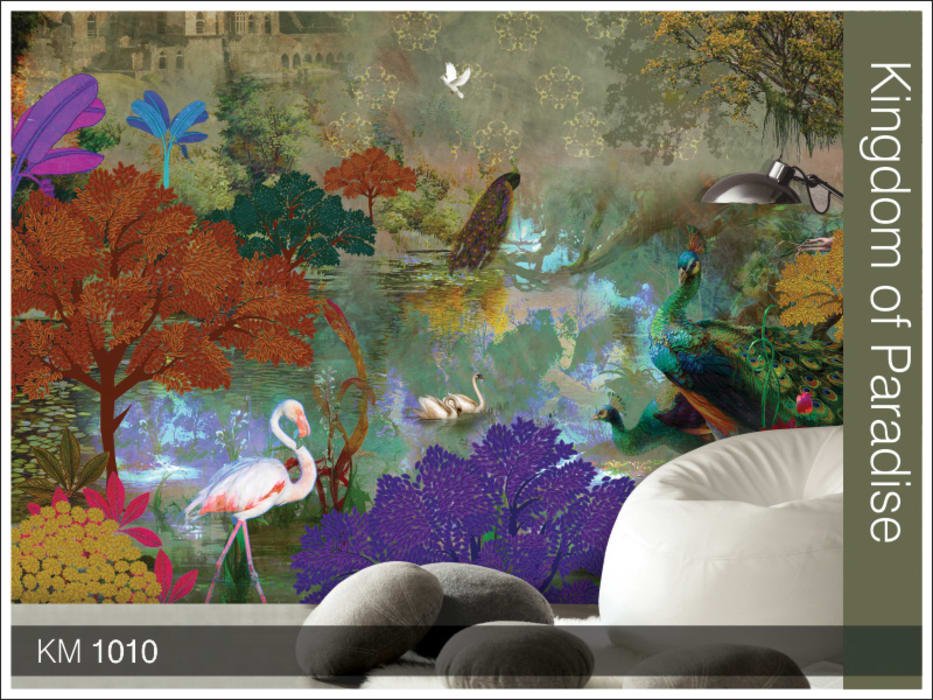 Krsna mehta designer wallcoverings Asian style walls & floors by Wall Art Private Limited Asian