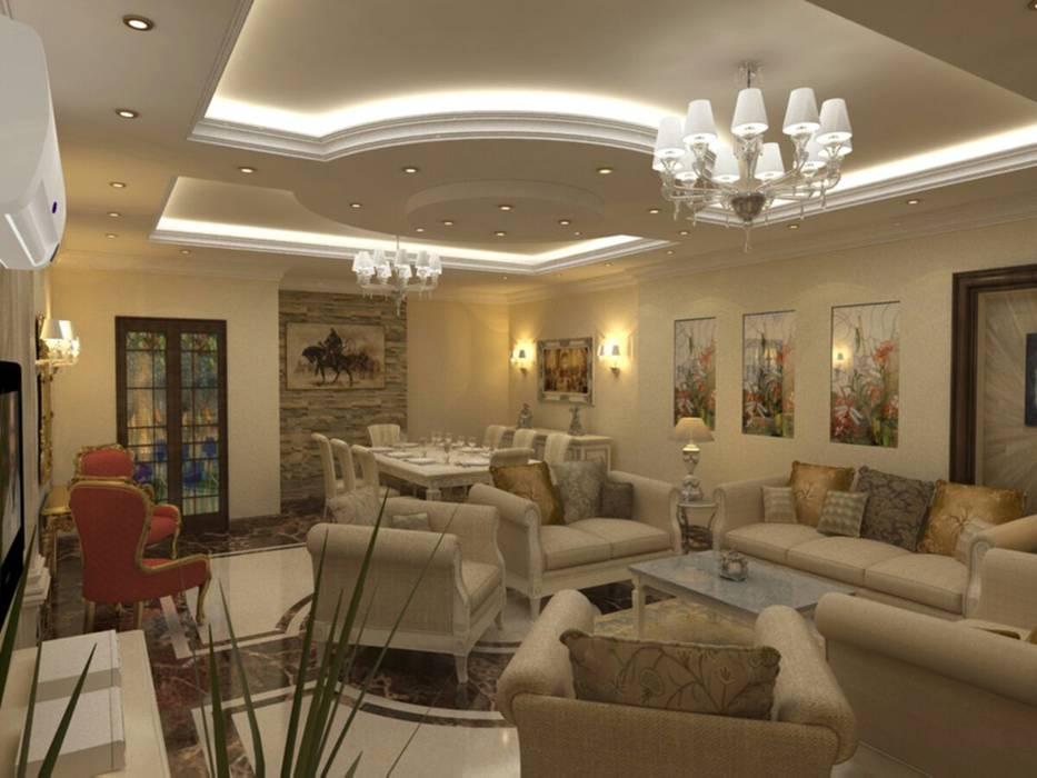تشطيب شقة زهراء المعادي :  غرفة المعيشة تنفيذ الرواد العرب,