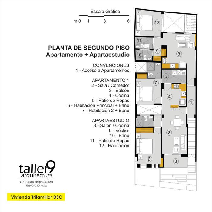 Planta de Segundo Piso: Casas de estilo  por TALLER 9, ARQUITECTURA, Moderno