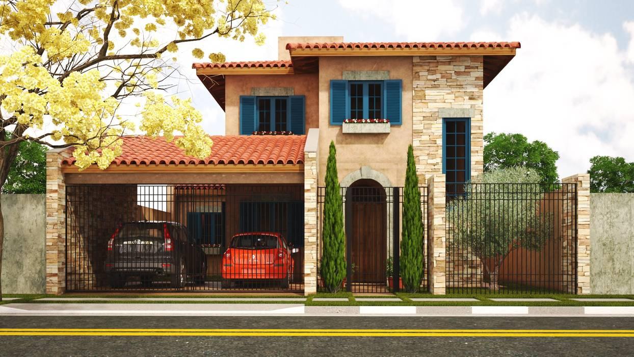 Casa Toscana - Jd. Campo Belo: Casas  por Leonardo Morato Arquitetura,Mediterrâneo
