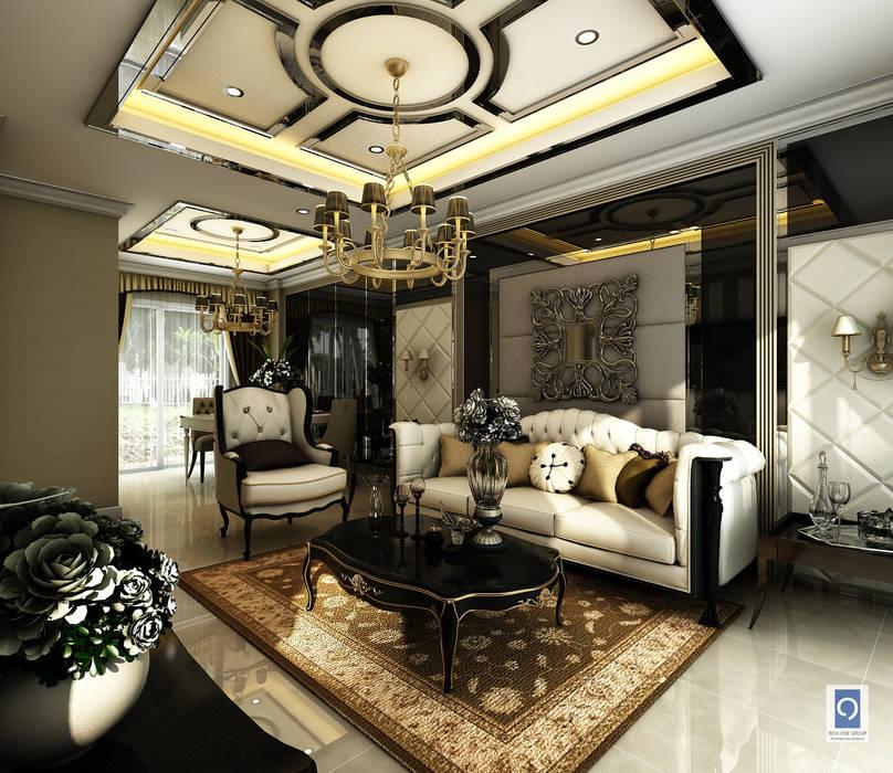 15 มุมห้องนั่งเล่นแนว Luxery Modern งานออกแบบห้องรับแขกเพื่อทุกคนในครอบครัว: ทันสมัย  โดย ริชวัน กรุ๊ป, โมเดิร์น