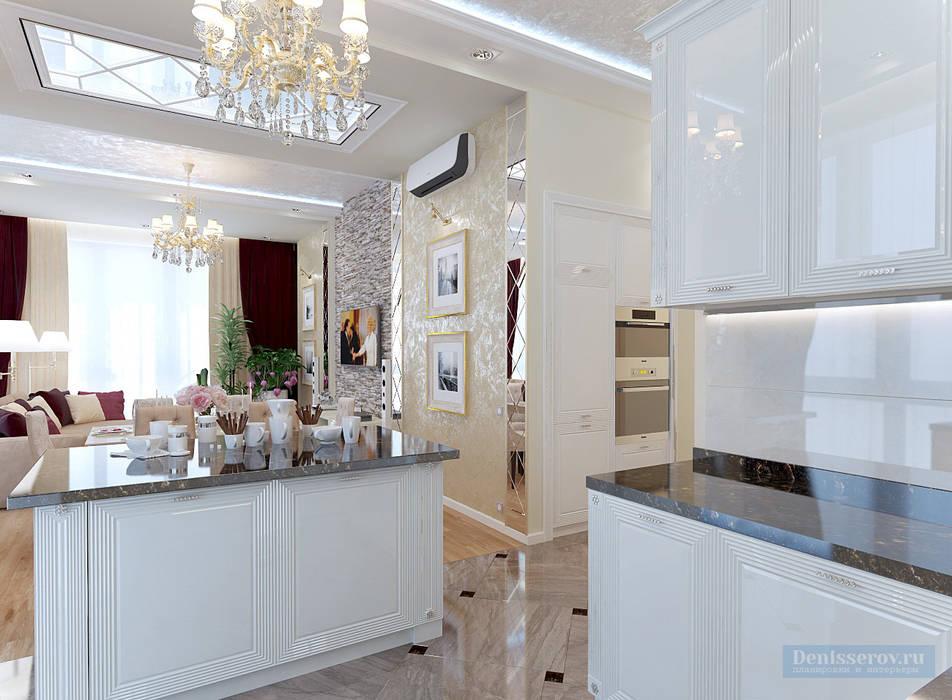 Кухня-гостиная 30 кв. м в современной классике Кухня в классическом стиле от Студия интерьера Дениса Серова Классический