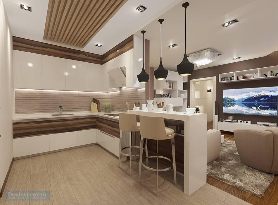 Кухня-гостиная 35 кв. м в современном стиле: Гостиная в . Автор – Студия интерьера Дениса Серова, Модерн