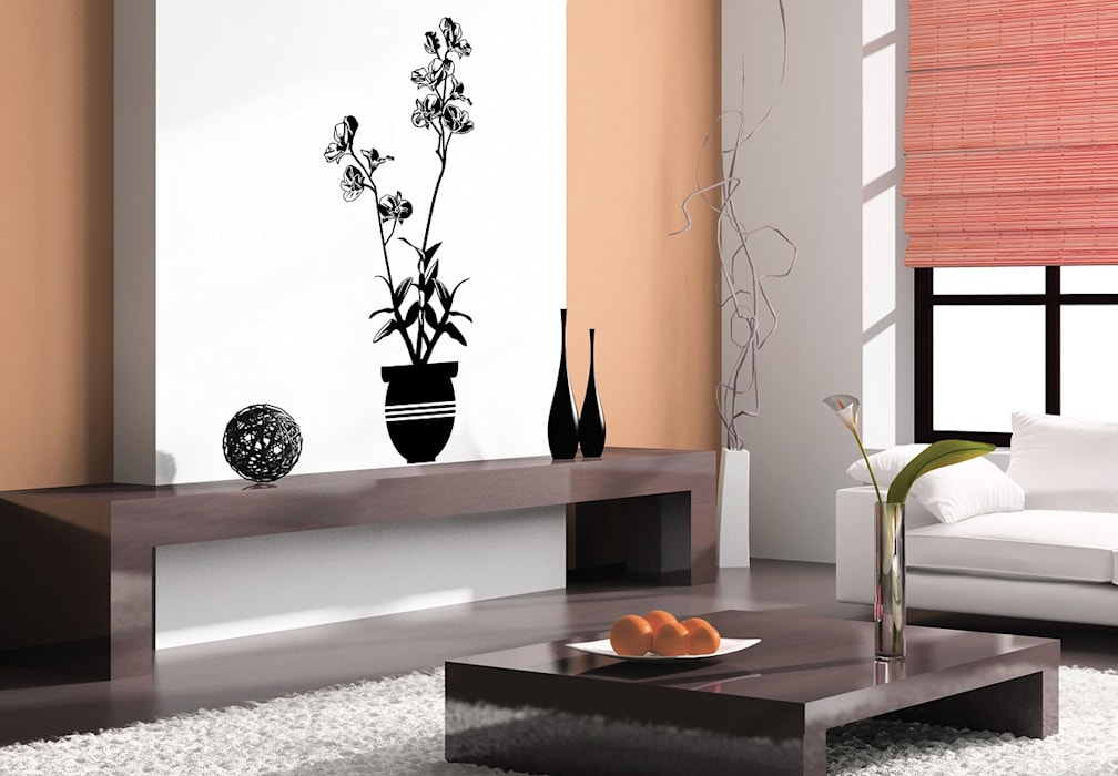 Wandtattoo Orchidee 3 K&L Wall Art WohnzimmerAccessoires und Dekoration Kunststoff Schwarz
