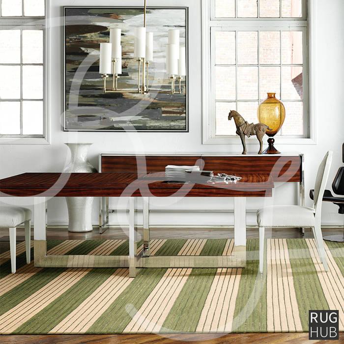 SHIMMER SAGE:  Dining room by Rug Hub, Rustic