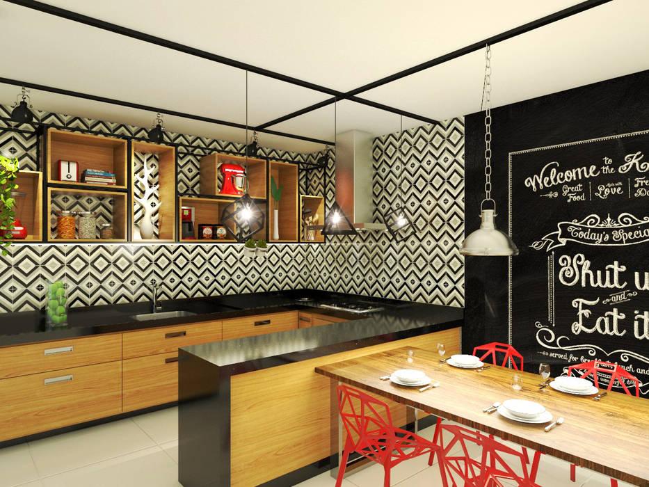 Industrial style kitchen by Bruna Rodrigues Designer de Interiores Industrial Wood Wood effect