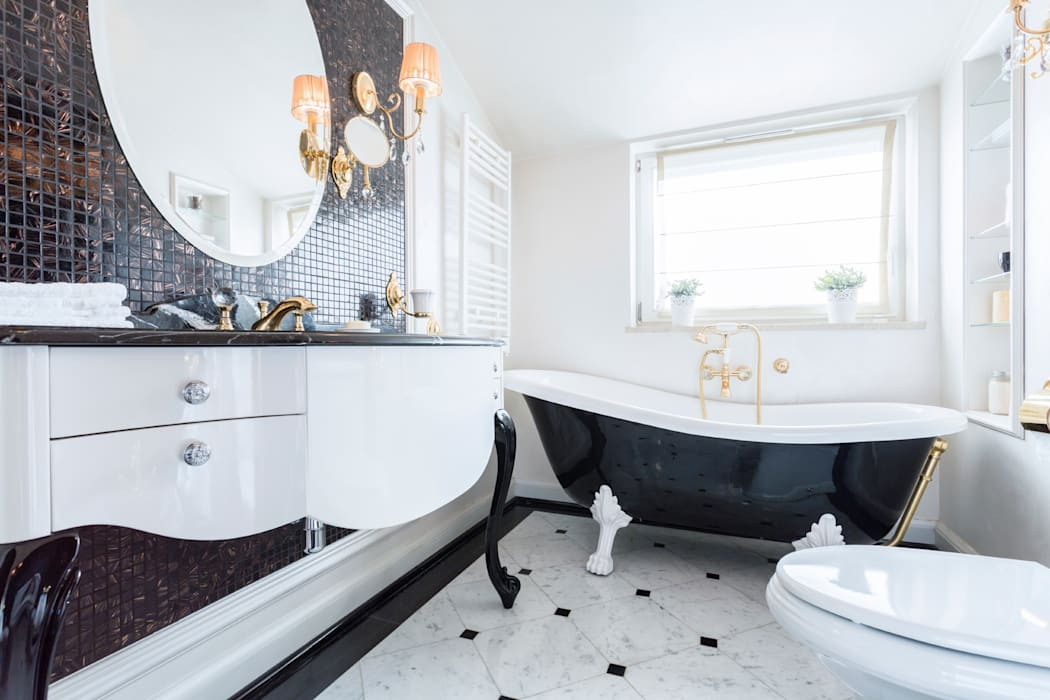 Black & White Classical Classic style bathroom by Gracious Luxury Interiors Classic