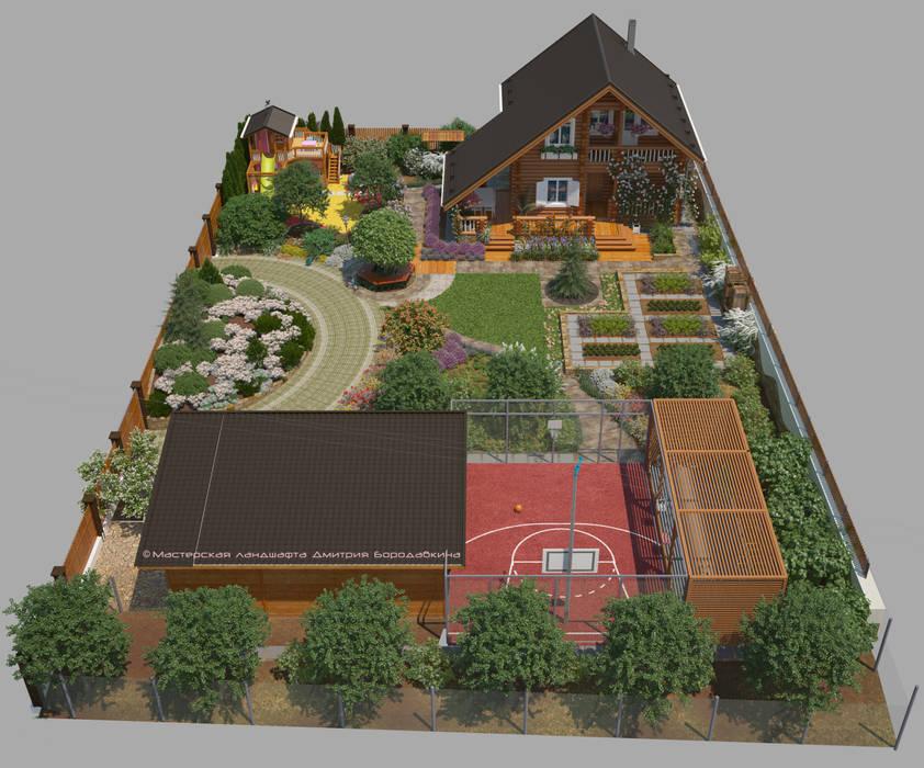 Дача для многодетной семьи на 10 сотках Сад в стиле кантри от Мастерская ландшафта Дмитрия Бородавкина Кантри