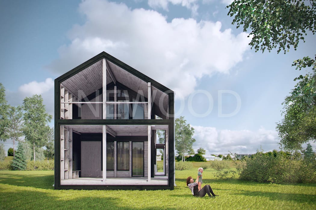 NEWOOD - Современные деревянные дома Eclectic style balcony, porch & terrace Wood Wood effect