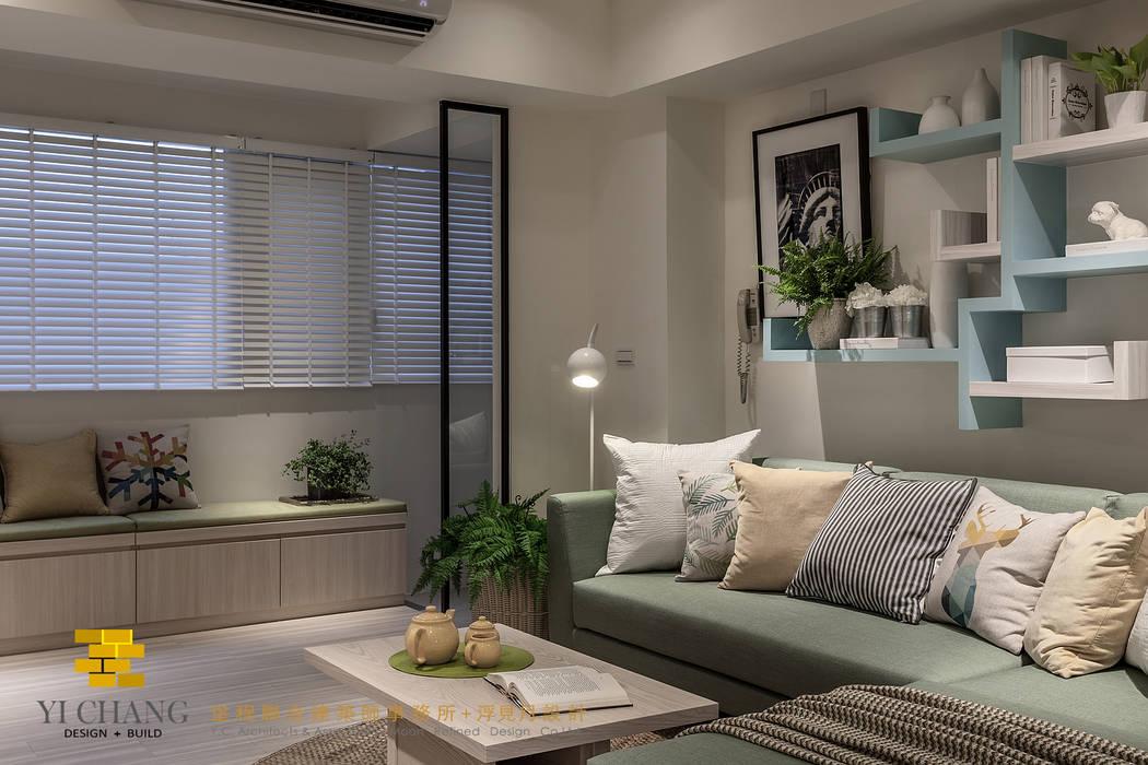 沙發背牆 根據 垼程建築師事務所/浮見月設計工程有限公司 田園風