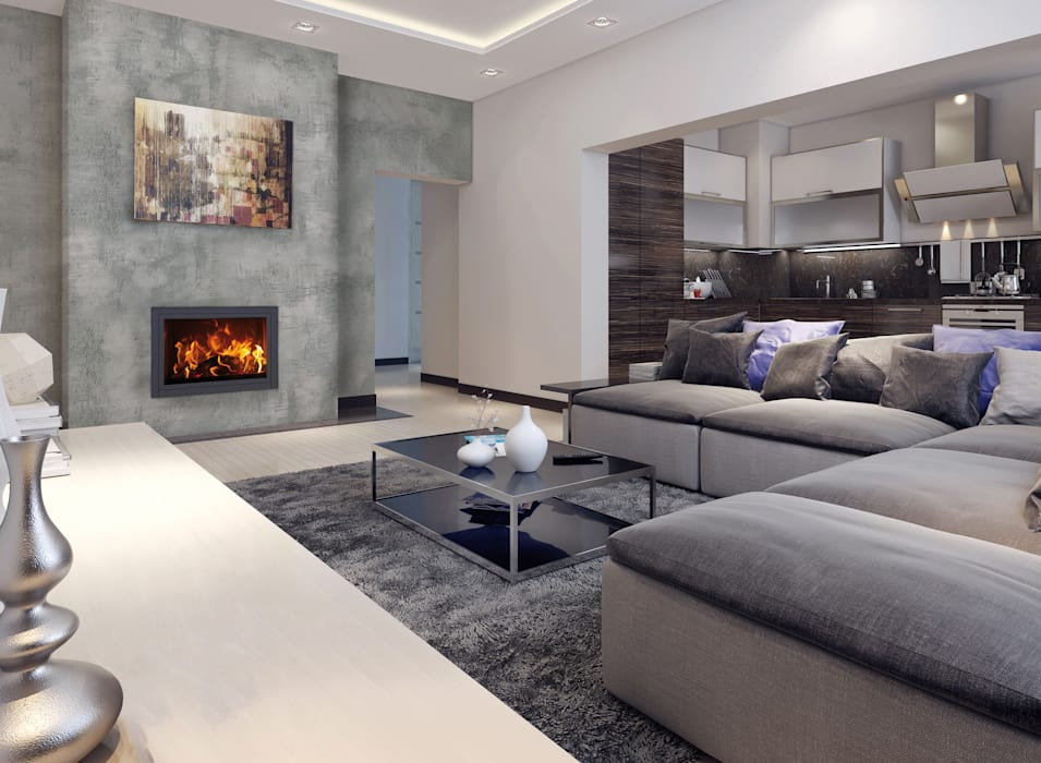 Betonoptik gestalten mit kalk-spachtelmasse: moderne wohnzimmer von ...