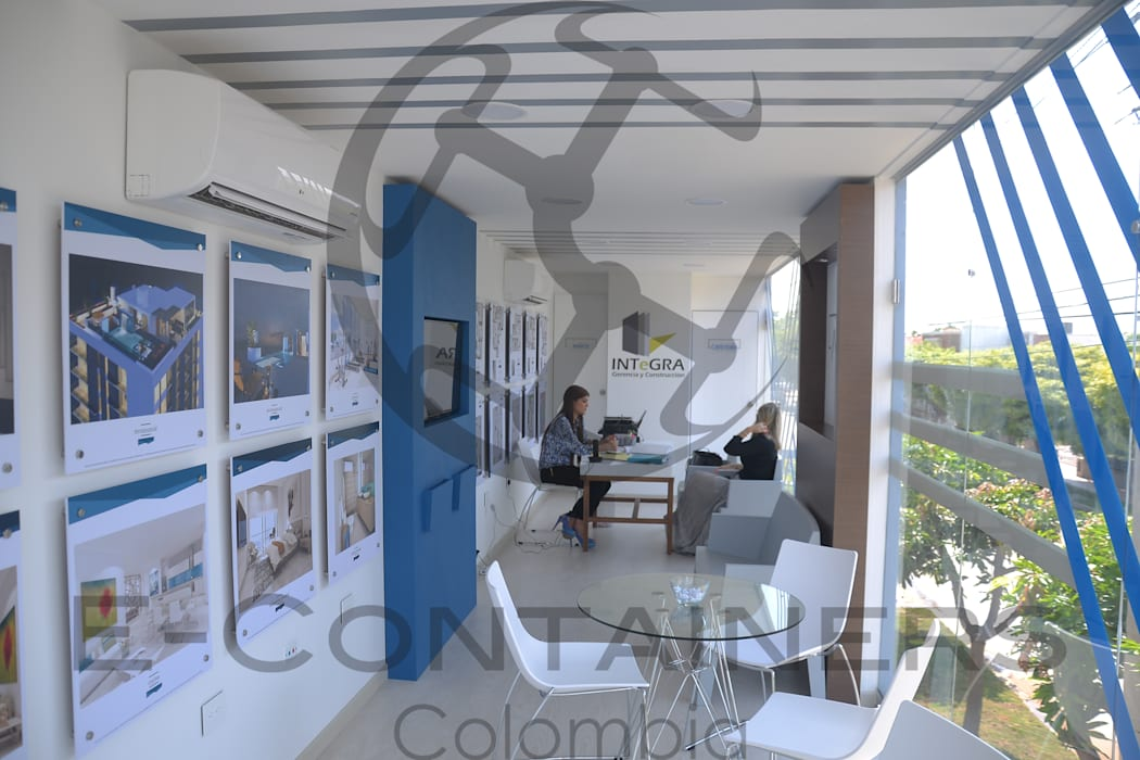 Sala de ventas Acqua Salas modernas de E-Containers Colombia Moderno Hierro/Acero