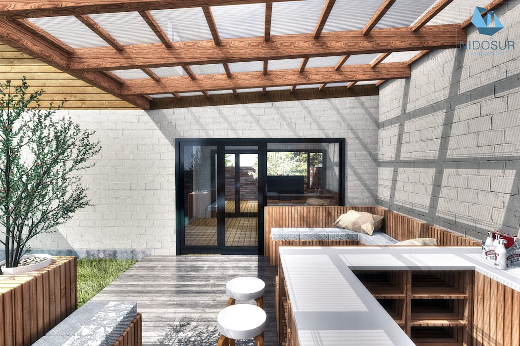 Terraza Balcones y terrazas modernos de NidoSur Arquitectos - Valdivia Moderno Madera Acabado en madera