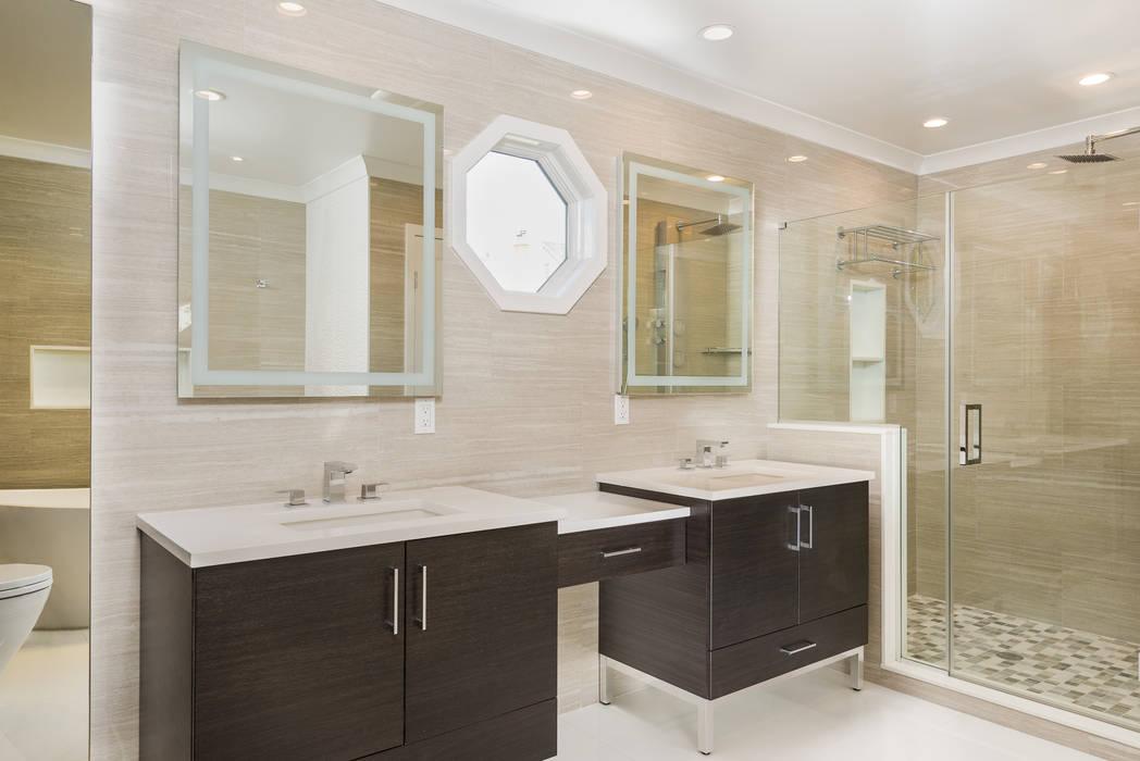Master Bathroom with Porcelanosa Tile Modern Bedroom by HOMEREDI Modern Quartz