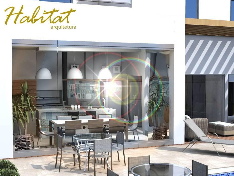 Habitat arquitetura Tropical style kitchen Glass Turquoise