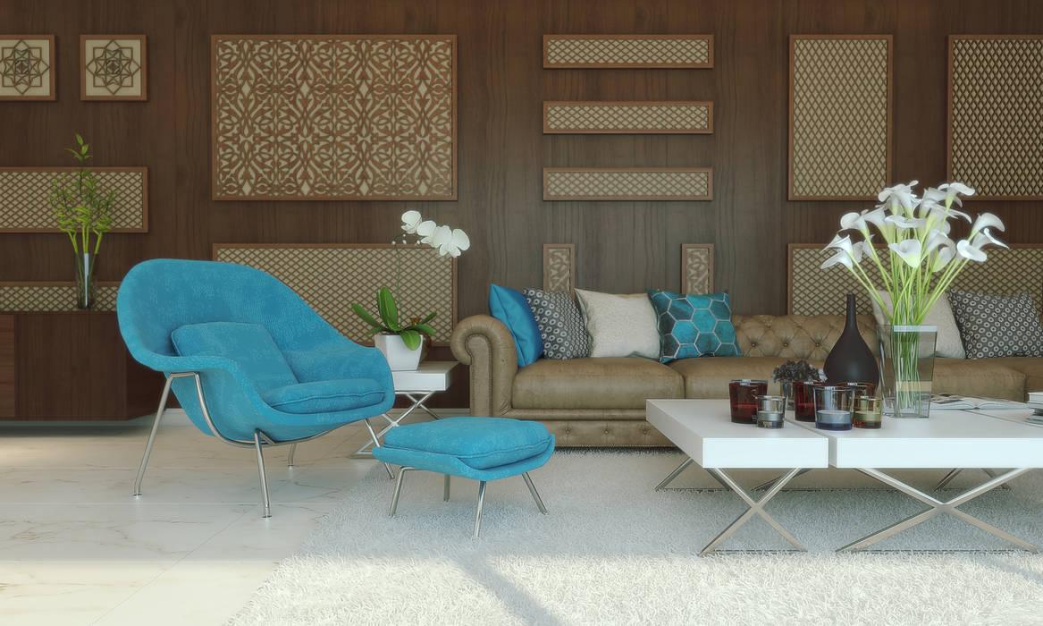 private villa_riyadh_albassateen camp:  غرفة المعيشة تنفيذ m.frahat, تبسيطي