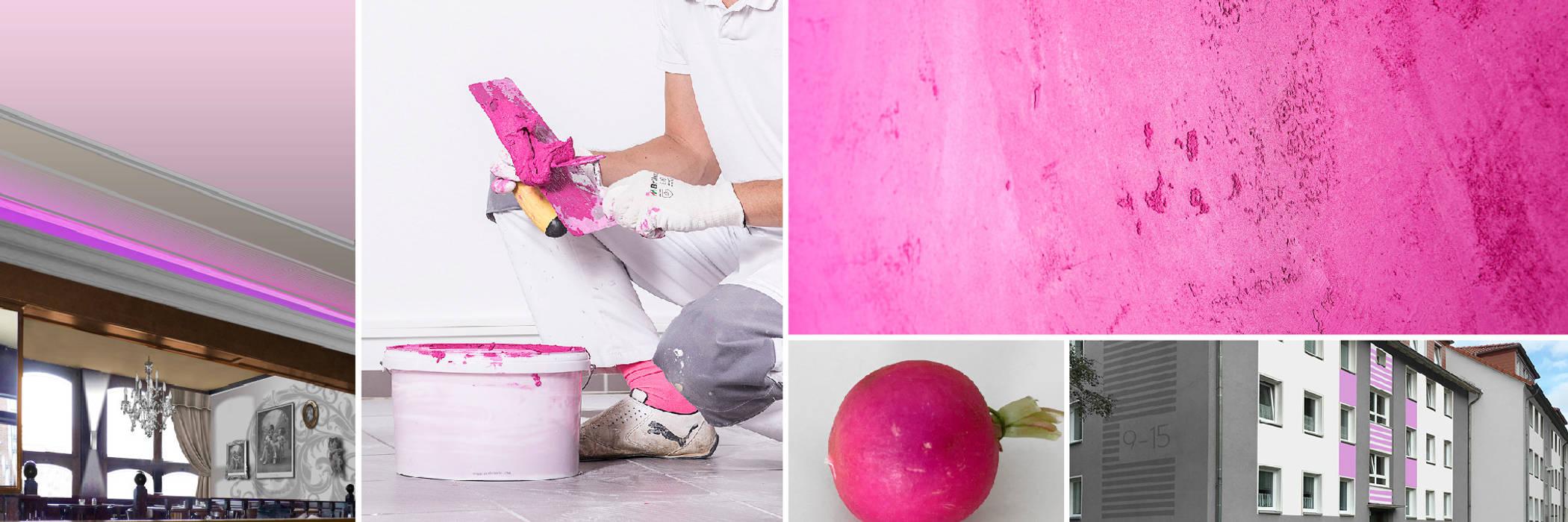 FARBCOMPANY Dinding & Lantai Gaya Eklektik Pink