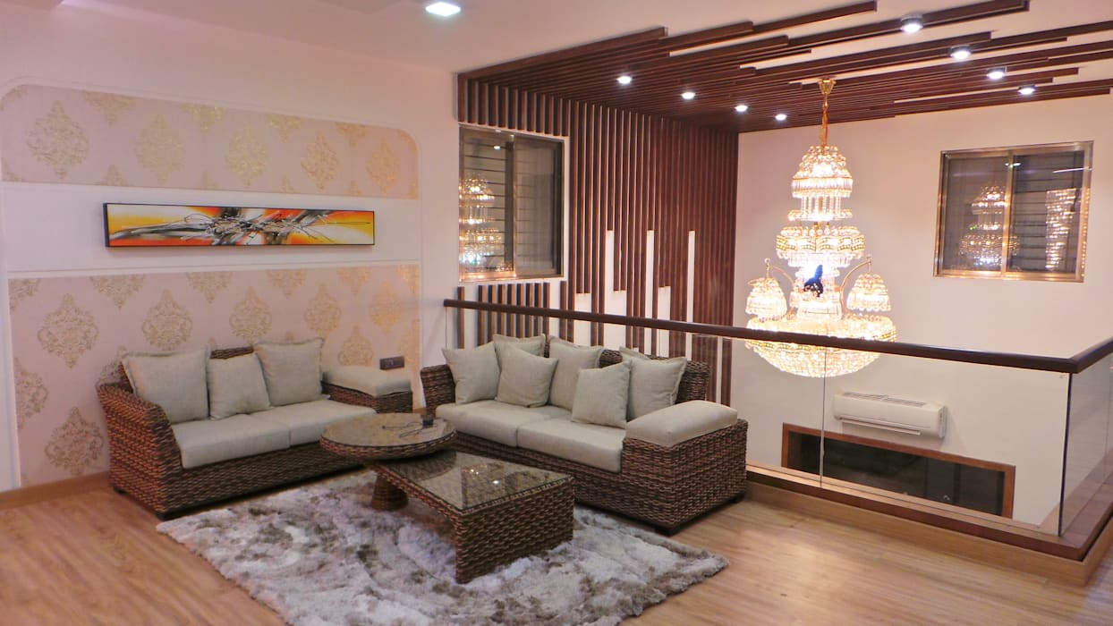 Bungalow :  Living room by Shadab Anwari & Associates.