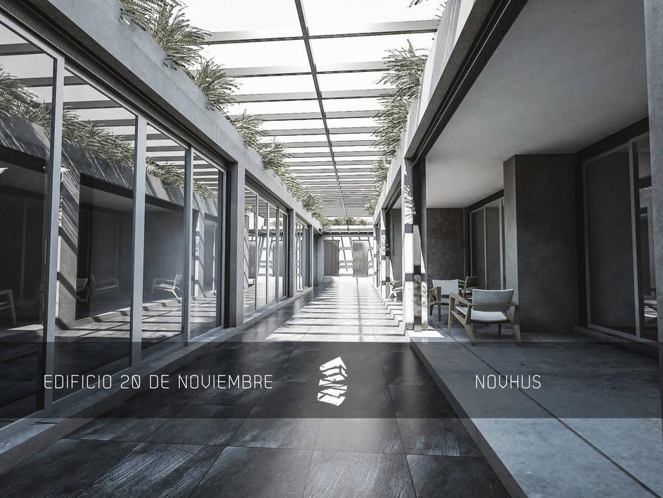 CORREDOR PRINCIPAL : Espacios comerciales de estilo  por Novhus Oficina de Arquitectura