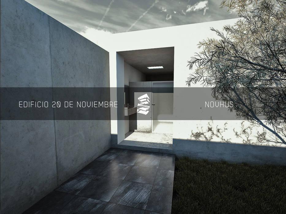 SANITARIOS HOMBRES: Espacios comerciales de estilo  por Novhus Oficina de Arquitectura