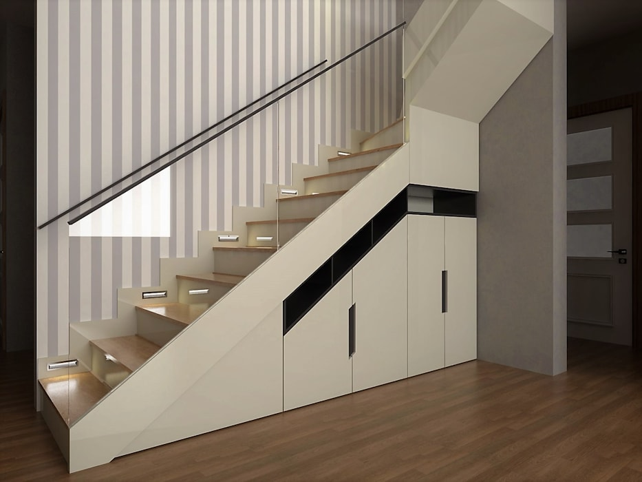 Murat Aksel Architecture Modern corridor, hallway & stairs Wood White