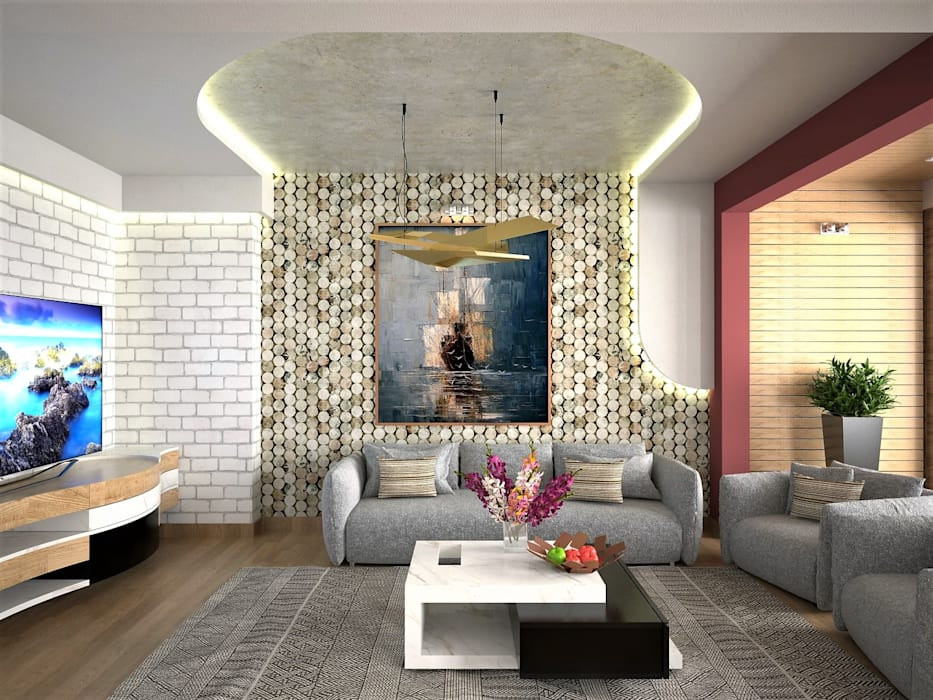 Murat Aksel Architecture Living room Stone Beige