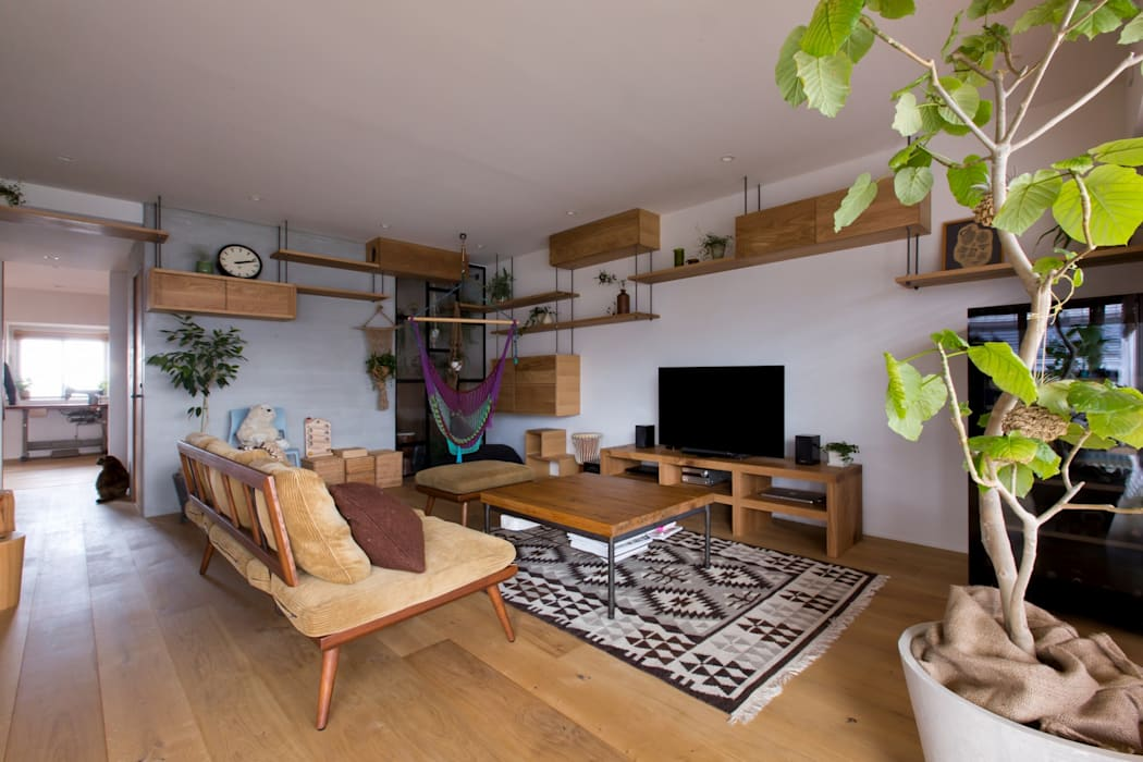 Living room by ALTS DESIGN OFFICE, Rustic Wood Wood effect