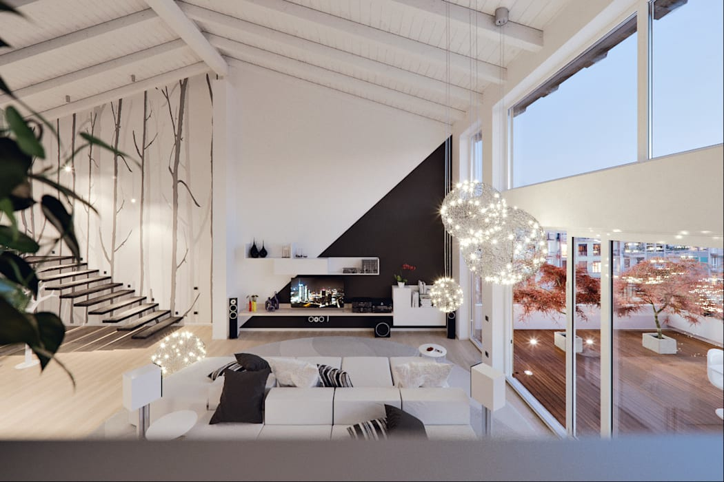 Un attico in stile loft in milano: soggiorno in stile di annalisa ...