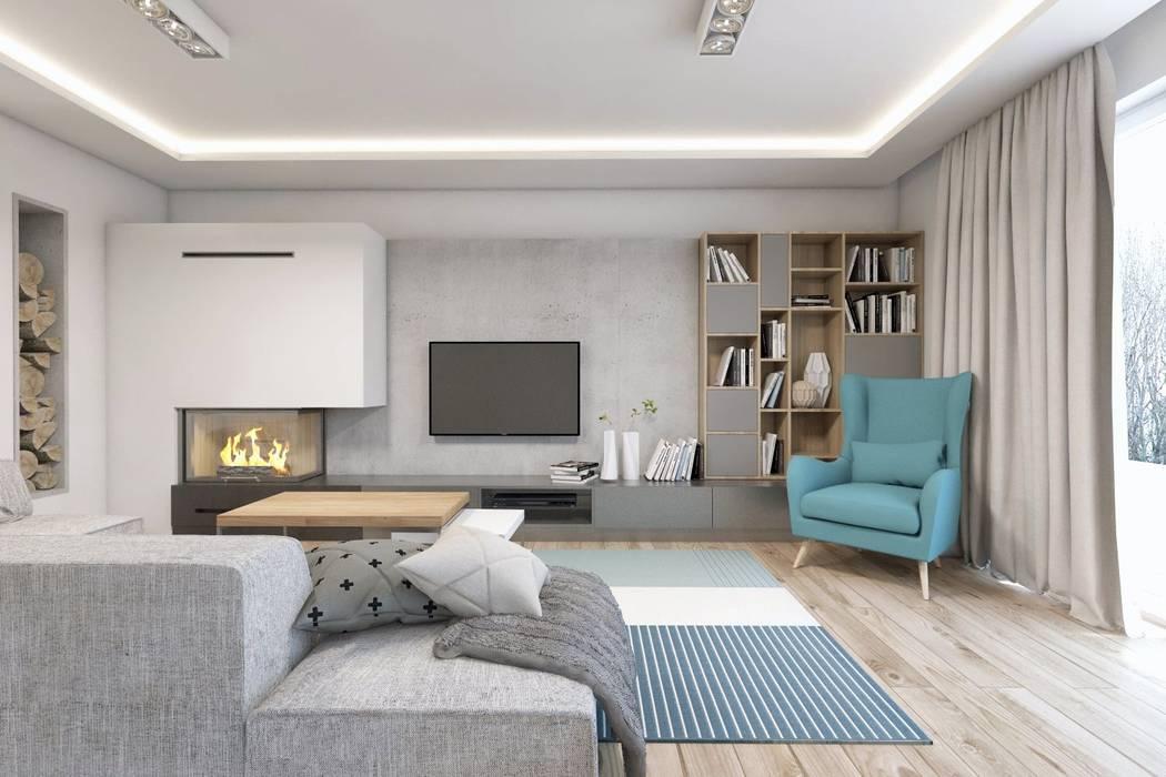 Projekt domu jednorodzinnego 10 Skandynawski salon od BAGUA Pracownia Architektury Wnętrz Skandynawski