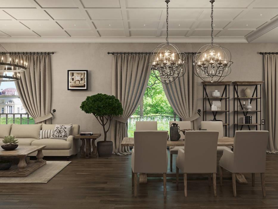 """""""Американское кантри"""" 450 мкв Столовая комната в классическом стиле от Wide Design Group Классический"""