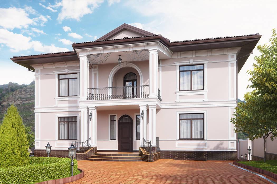 Визуализация ландшафта с архитектурой частного дома Дома в классическом стиле от Москоу Дизайн Классический Камень