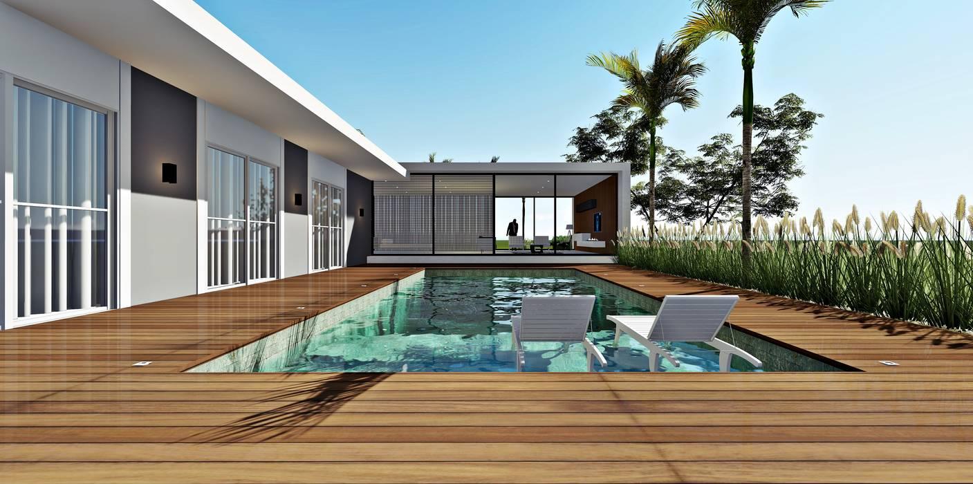 Minimalist pool by Lopes e Theisen Arquitetura Minimalist Concrete