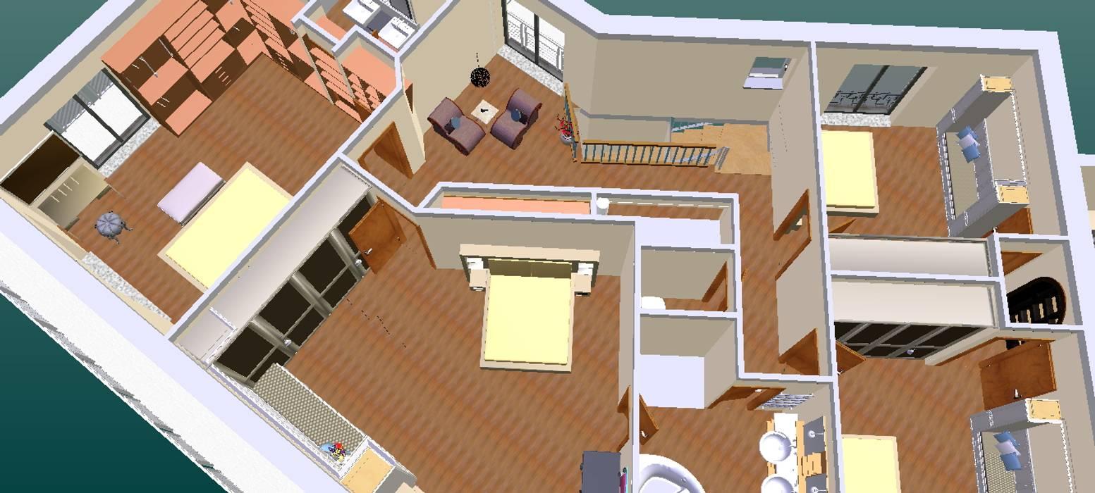 O novo plano do primeiro andar-3D1 Quartos de criança clássicos por D O M | Architecture interior Clássico
