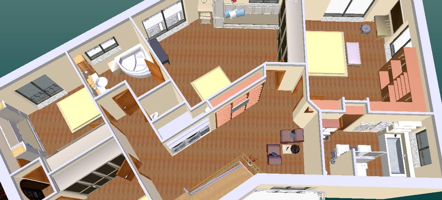 O novo plano do primeiro andar-3D2: Corredores e halls de entrada  por D O M   Architecture interior