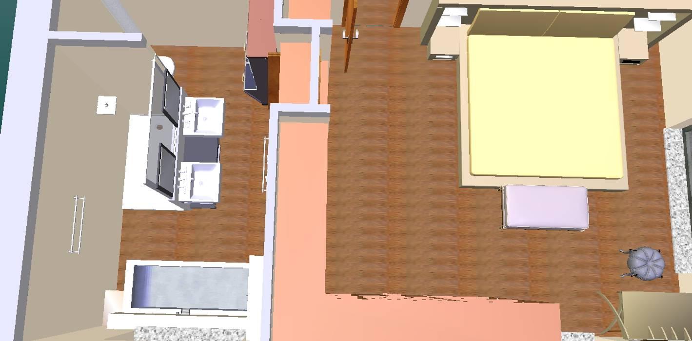Quarto principal e bain-3D2: Casas de banho  por D O M | Architecture interior,