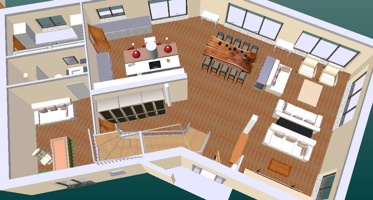 ground floor-3D1 Cozinhas clássicas por D O M   Architecture interior Clássico