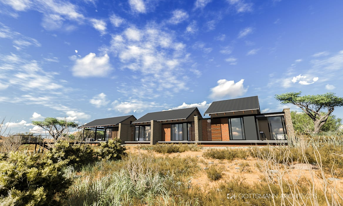Bush lodge:  Houses by Gottsmann Architects, Rustic Stone