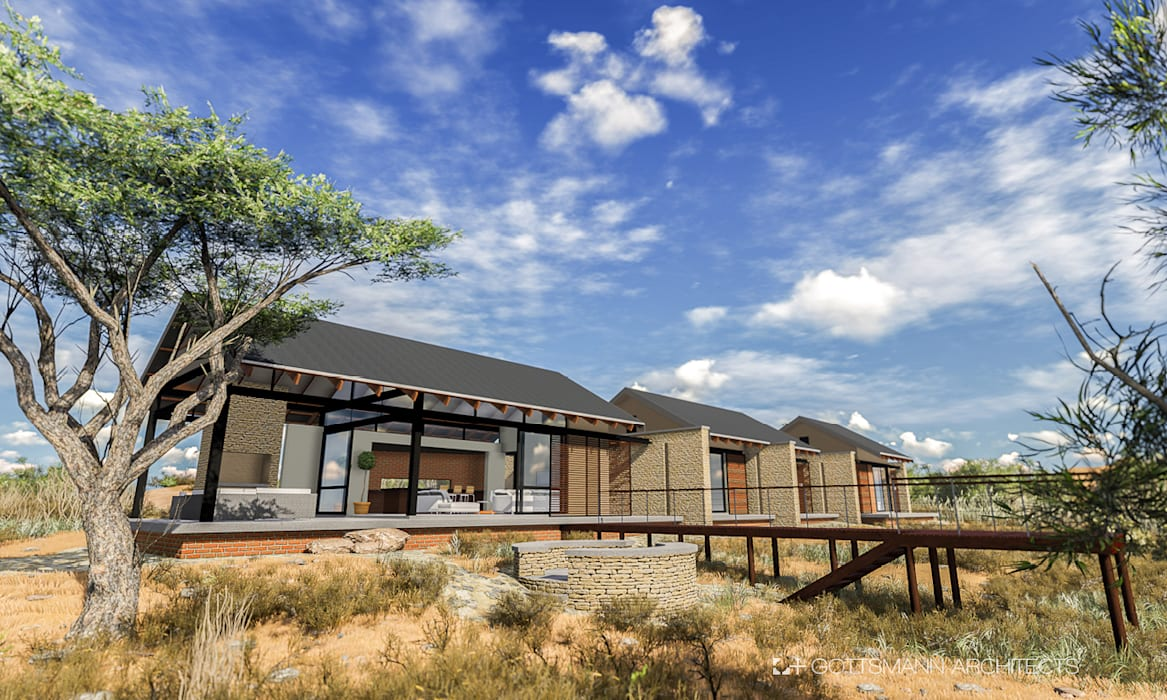 Bush lodge:  Houses by Gottsmann Architects, Country Stone