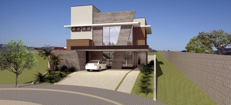 Vista Frontal 3 - Residência MDS: Casas  por Hamilton Turola Arquitetura e Design,Moderno