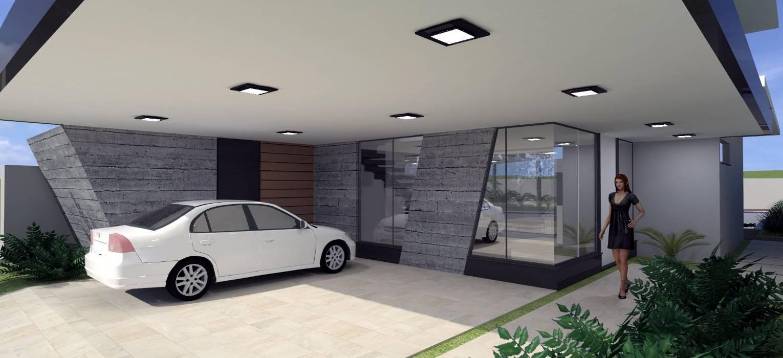 Vista da Entrada - Residência MDS: Casas  por Hamilton Turola Arquitetura e Design,Moderno