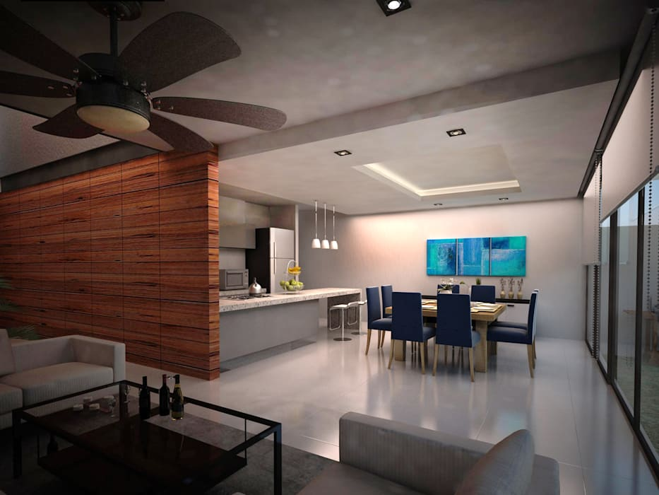AQUA: Comedores de estilo  por Art.chitecture, Taller de Arquitectura e Interiorismo 📍 Cancún, México.