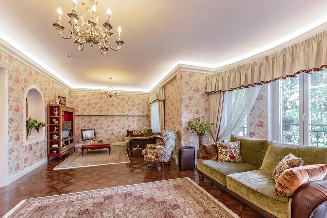 Дизайн бюро Оксаны Моссур Classic style living room Beige