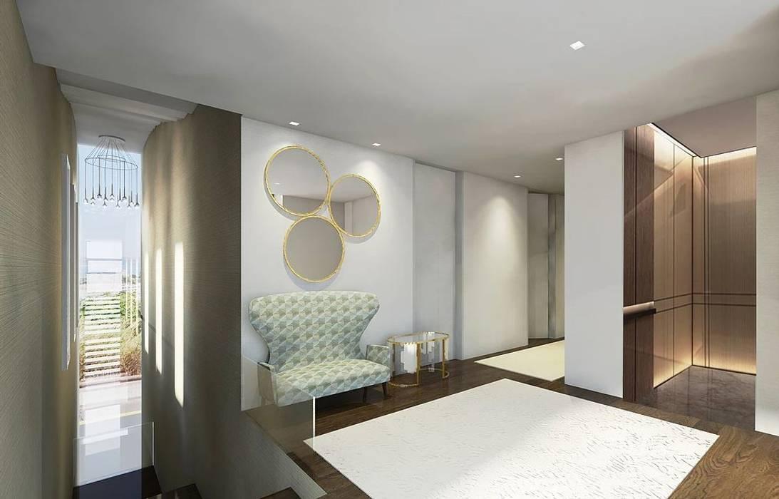 Hall de escada do 2 piso render FEMMA Interior Design Corredores, halls e escadas modernos