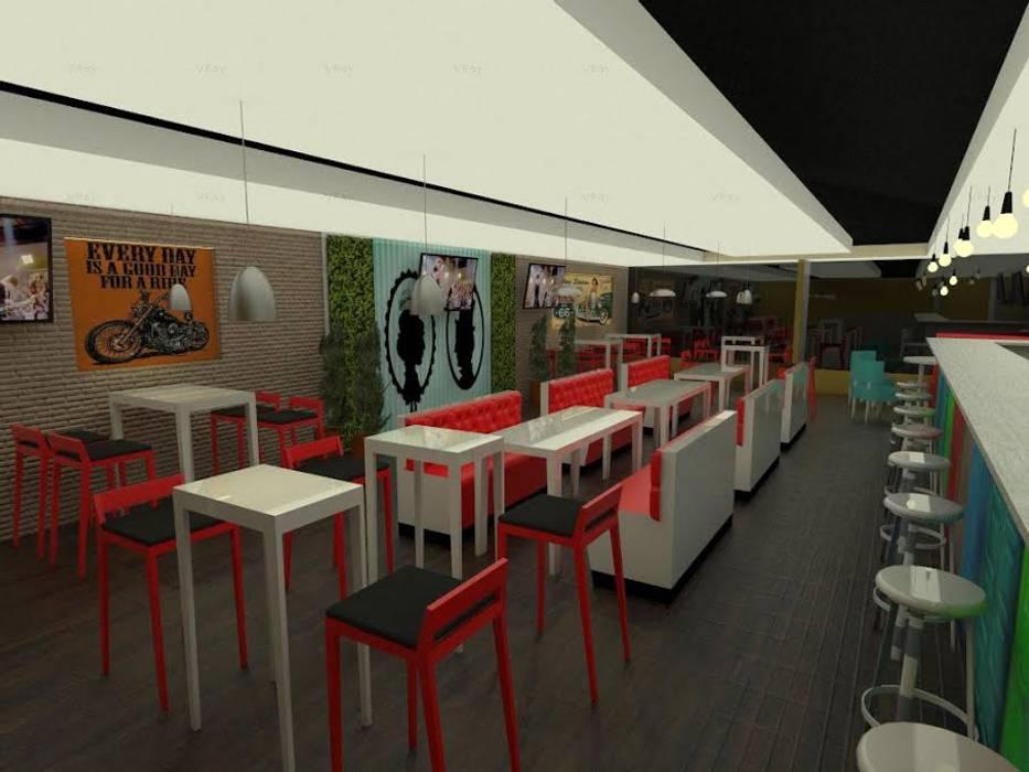 Visual desde la Entrada: Bares y discotecas de estilo  por KAYROS ARQUITECTURA DISEÑO INTERIOR
