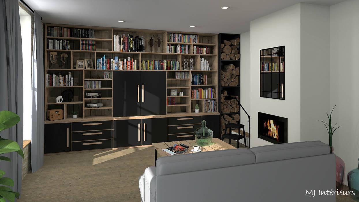 Bibliothèque/meuble TV: Salon de style de style Industriel par MJ Intérieurs