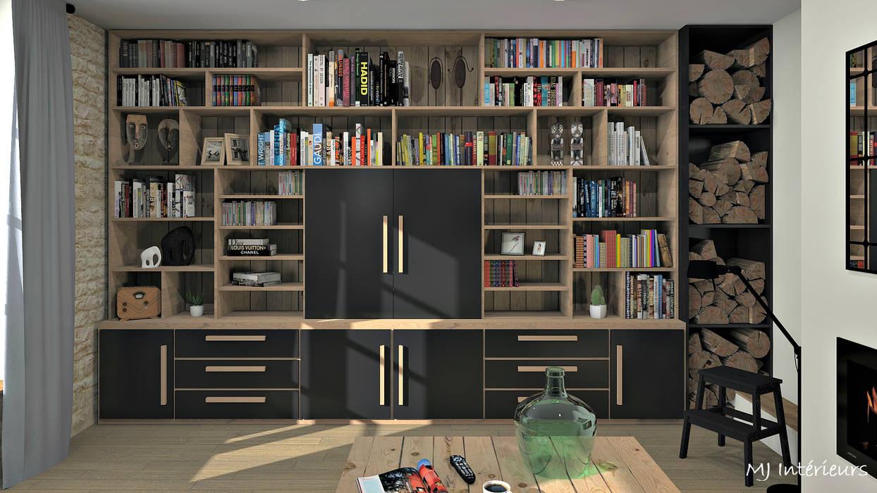 Bibliothèque/meuble TV: Salon de style  par MJ Intérieurs