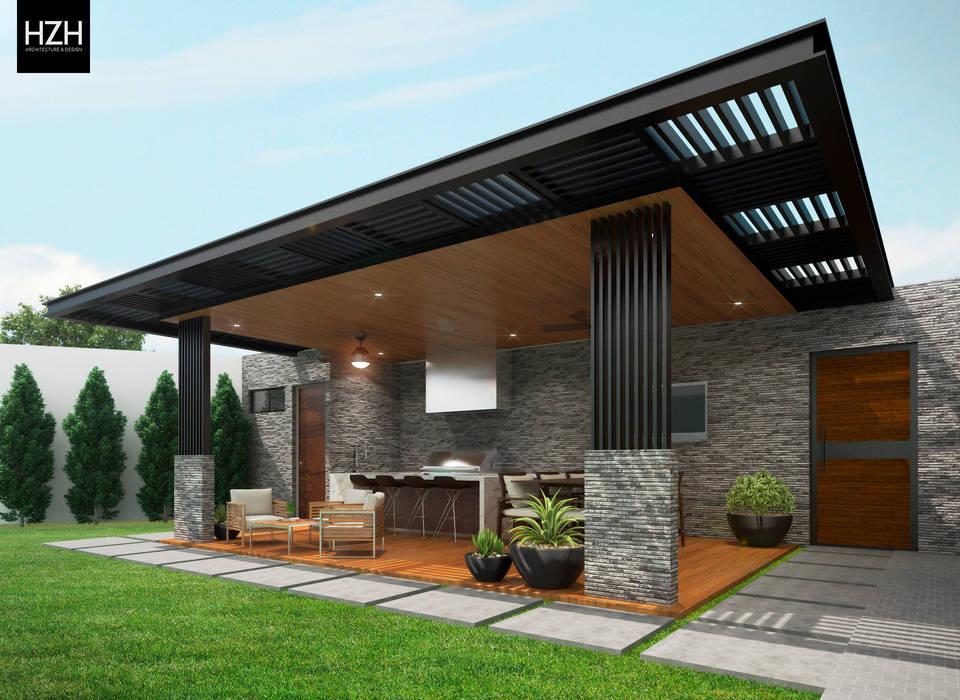 Diseño de palapa/área social. : Terrazas de estilo  por HZH Arquitectura & Diseño