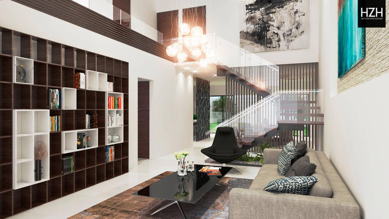 Diseño de sala recibidor. Salones modernos de HZH Arquitectura & Diseño Moderno