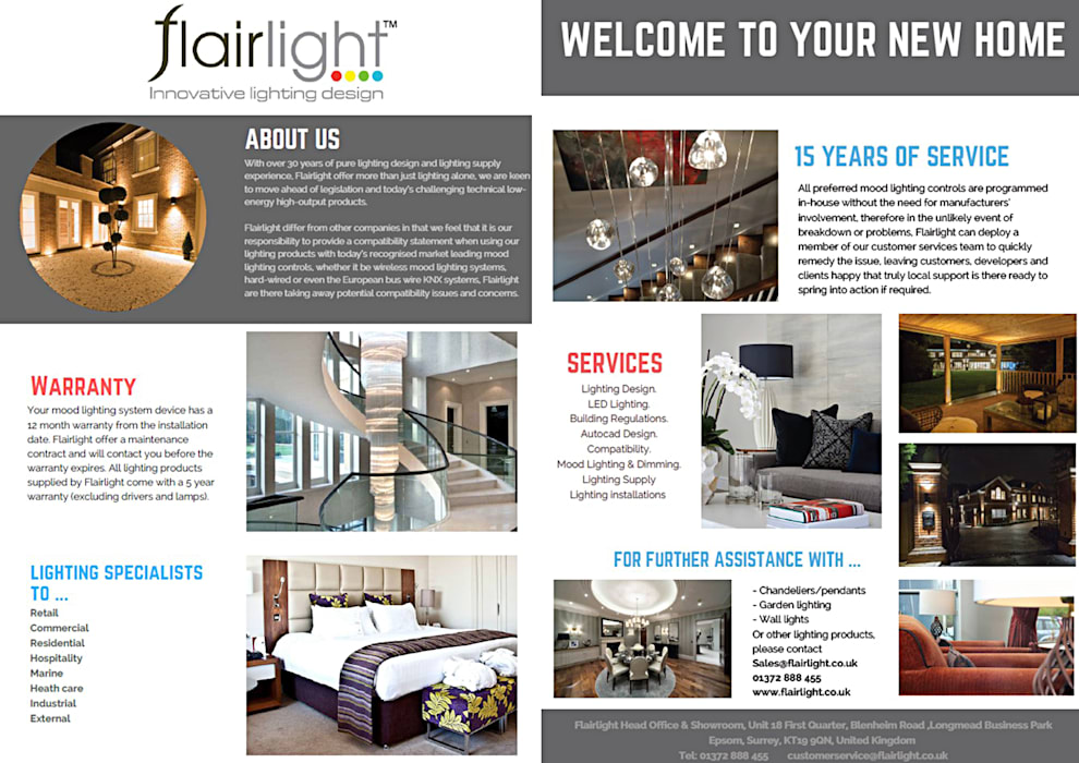 This is the handout that we give to all our new clients😊 Illuminate your space✨ de Flairlight Designs Ltd Moderno